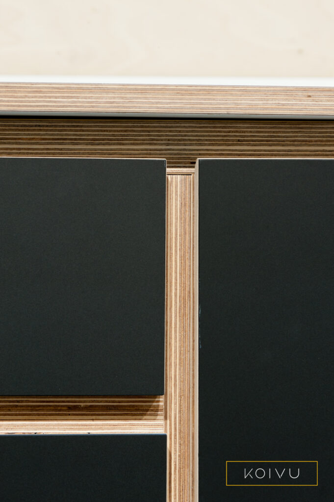 Plywood kitchen unit frame detail