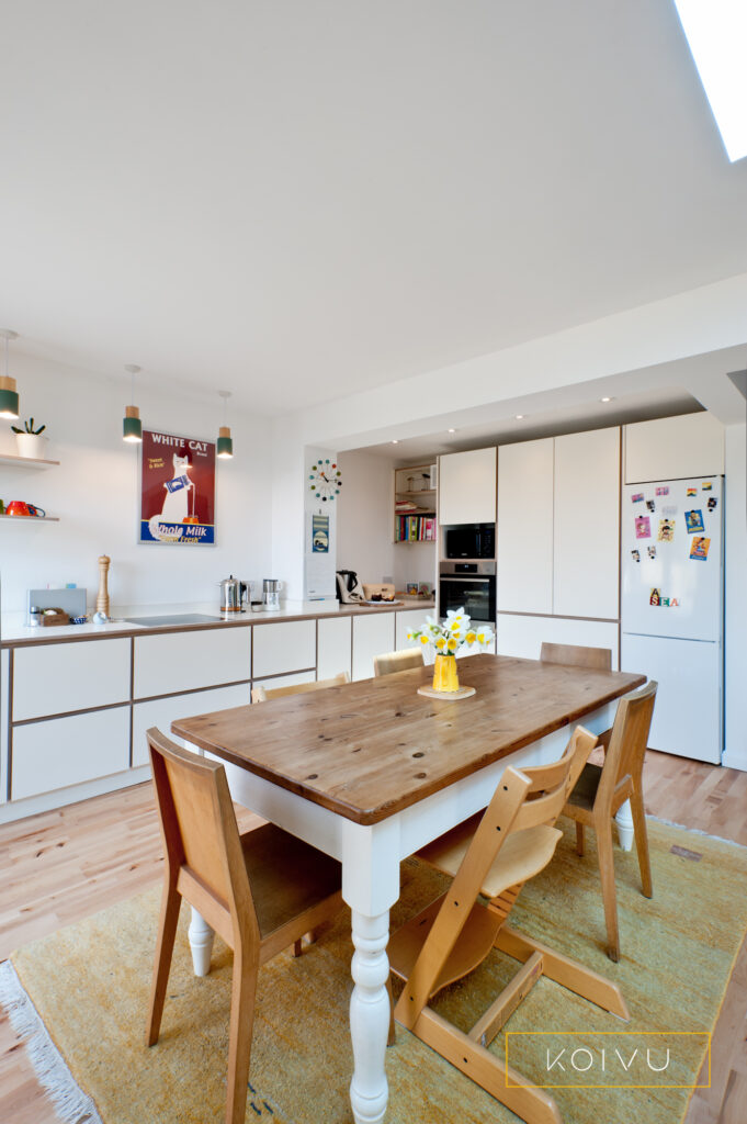 Birch plywood kitchen with dining space