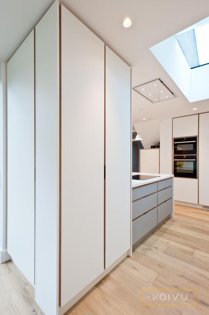 Plywood kitchen larder space around column