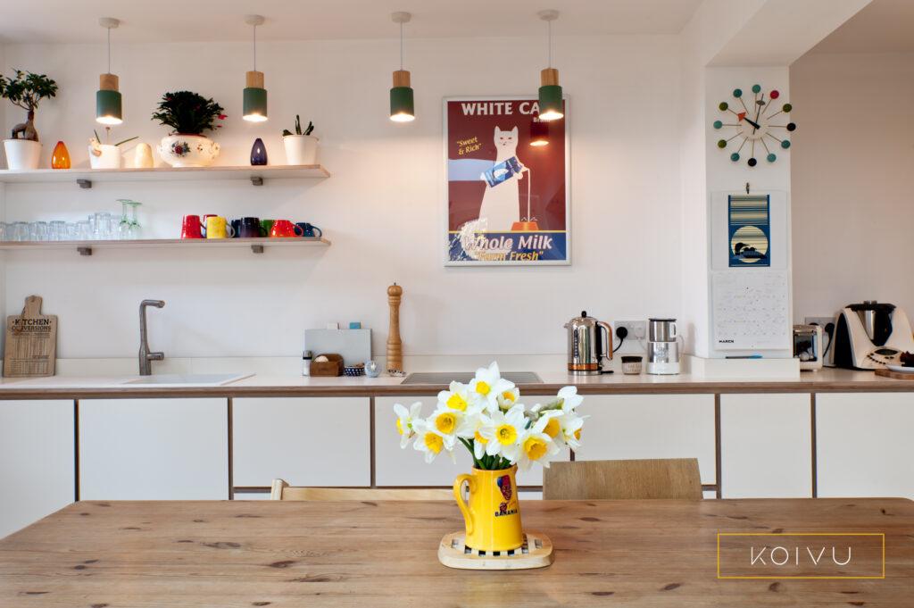 Plywood kitchen open shelves