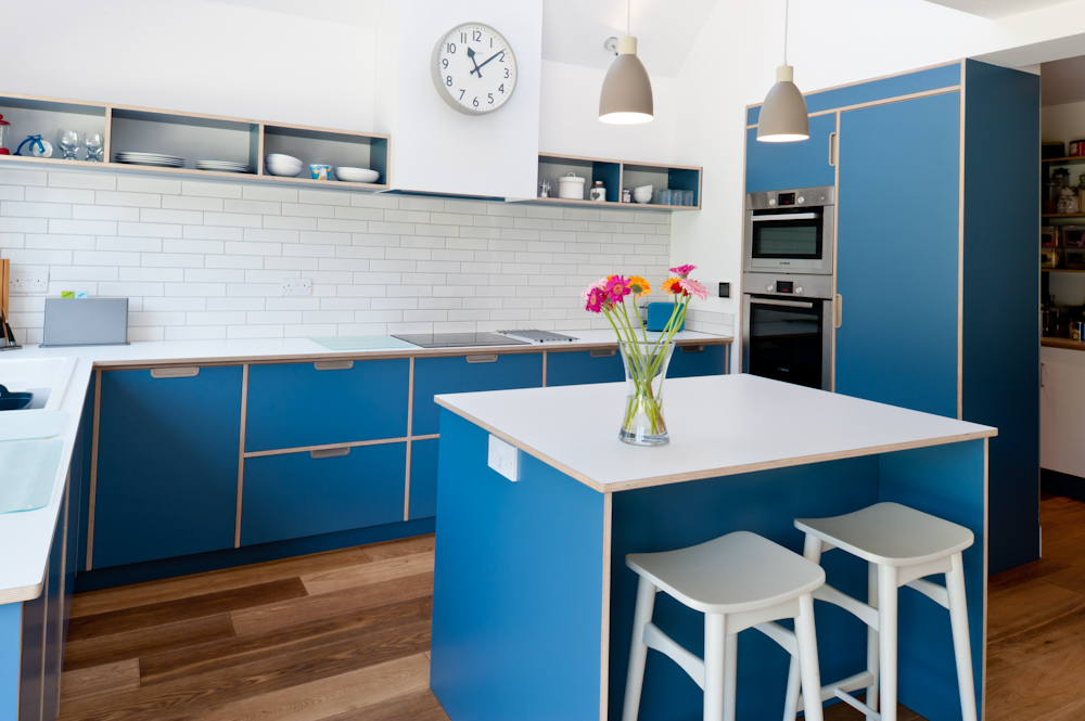 Birch plywood kitchen in blue formica
