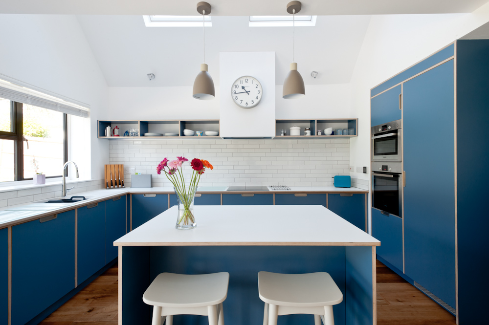 Blue plywood kitchen with small island and open shelves