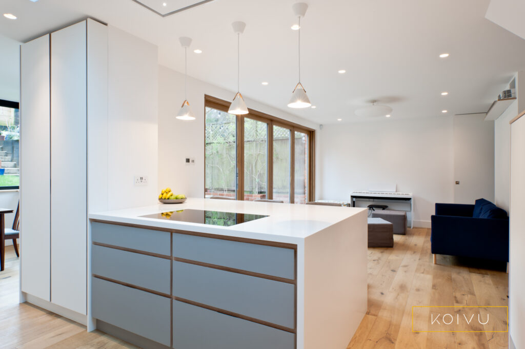 Birch plywood kitchen view of open living space