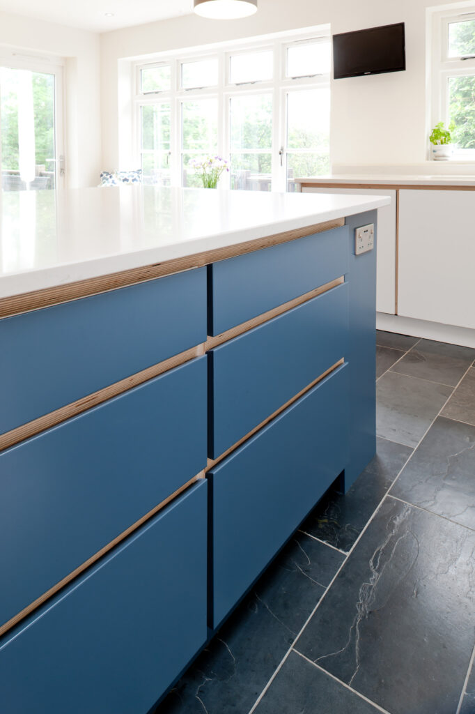 Birch plywood kitchen drawers in island