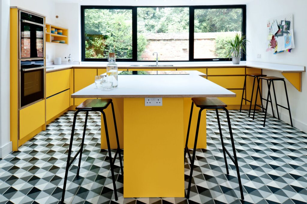 Modern yellow kitchen | retro kitchen design