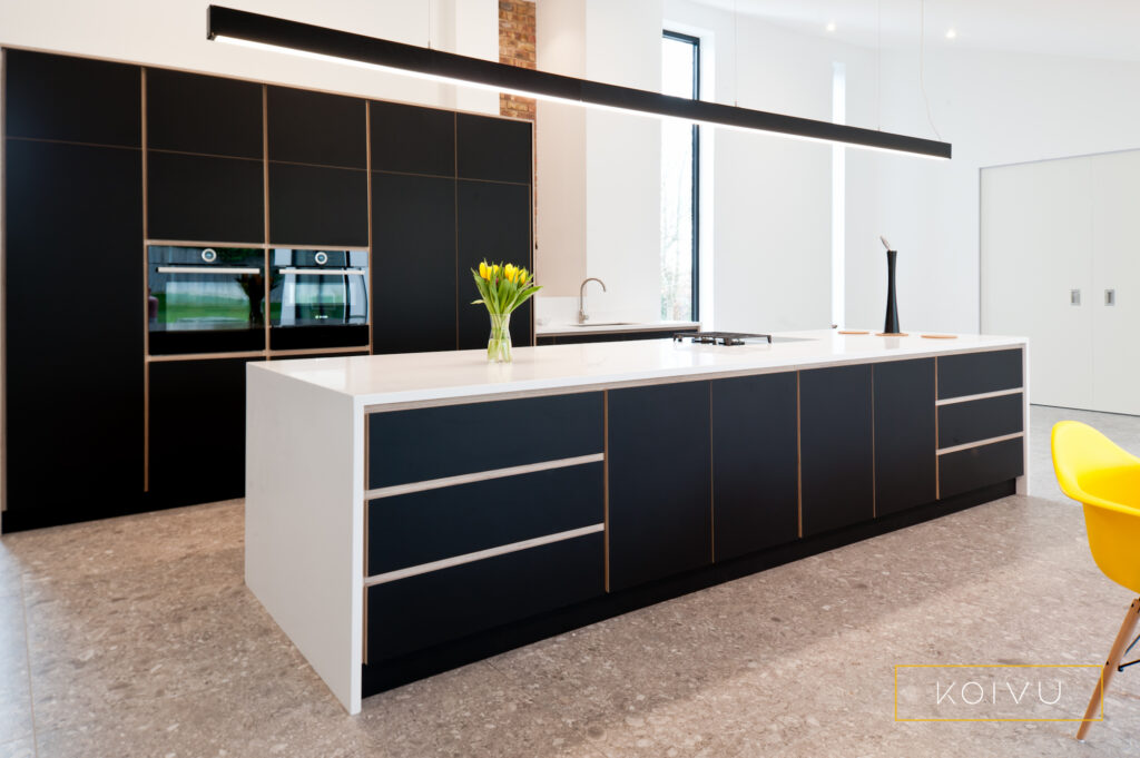 Koivu sustainable plywood black and white kitchen