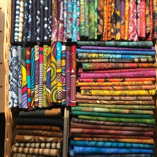 Colourful African fabrics from The African Store