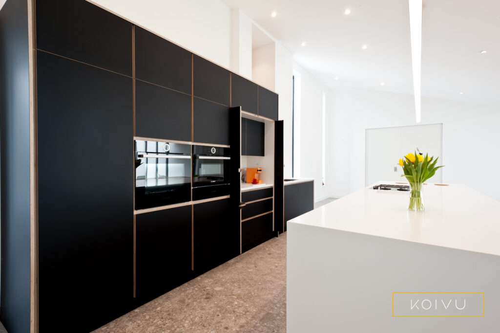 A black birch plywood kitchen with a butler's cupboard open halfway down its length