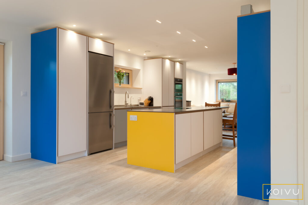 Family kitchen with island between two runs of units