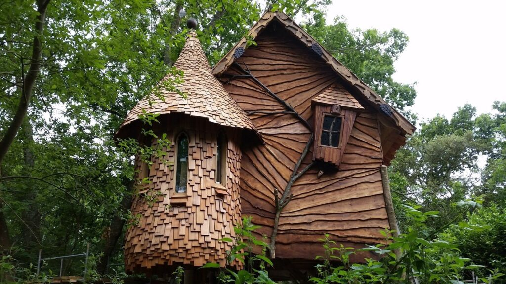 Funky tree house in woods