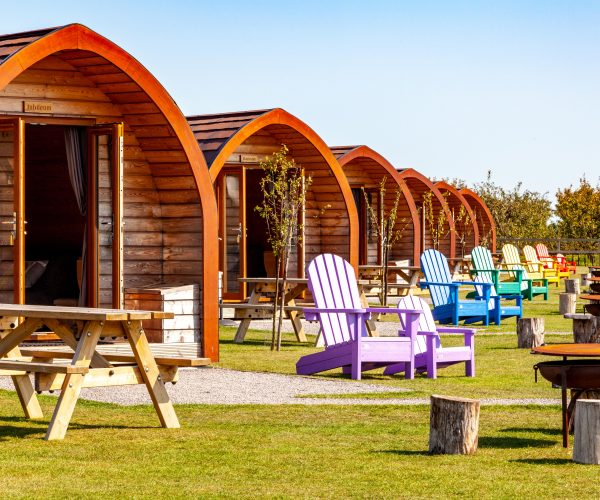 Glamping pods in the sun